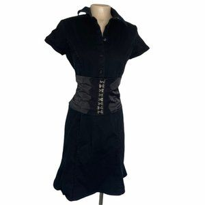 TRIPP NYC Y2K Vintage Rare Black Corset Button Up Dress Back Lace Up Small